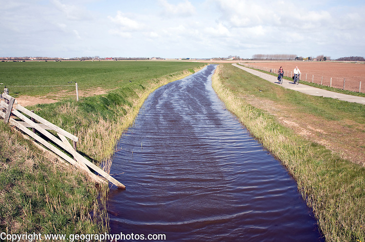 Drainage canal landscape, Texel, Netherlands,