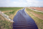 Drainage canal landscape, Texel, Netherlands,
