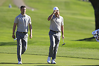 Martin Kaymer (GER) and Sergio Garcia (ESP)(Team Europe) on the 9th fairway during Saturday afternoon Fourball at the Ryder Cup, Hazeltine National Golf Club, Chaska, Minnesota, USA.  01/10/2016<br /> Picture: Golffile | Fran Caffrey<br /> <br /> <br /> All photo usage must carry mandatory copyright credit (&copy; Golffile | Fran Caffrey)