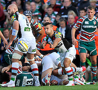 Leicester, England. Danny Care of Harlequins clears the ball during the Aviva Premiership match between Leicester Tigers and Harlequins at Welford Road on September 22, 2012 in Leicester, England.