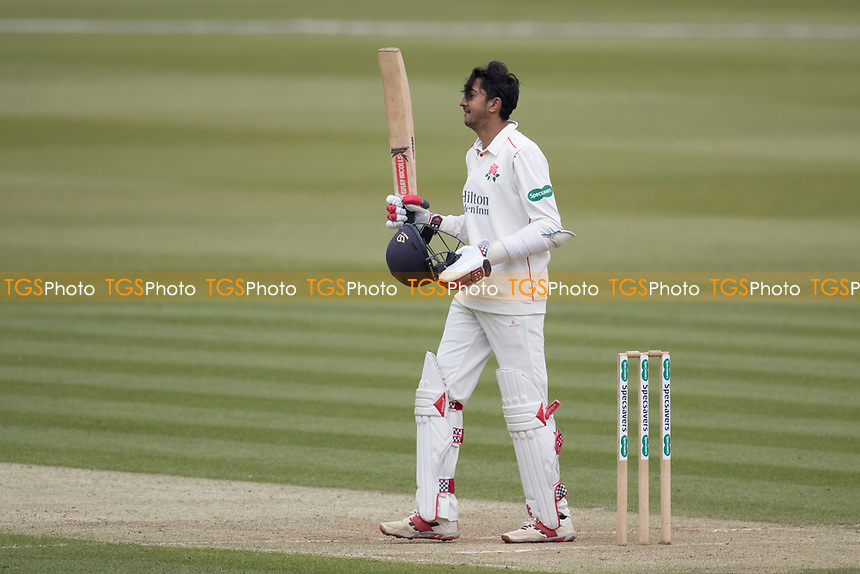 Haseeb Hameed of Lancashire CCC acknowledges the crowds applause on reaching his century during Middlesex CCC vs Lancashire CCC, Specsavers County Championship Division 2 Cricket at Lord's Cricket Ground on 12th April 2019