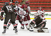 Josh McArdle (Brown - 12), Devin Tringale (Harvard - 22), Brian Hart (Harvard - 39), Tim Ernst (Brown - 33) - The Harvard University Crimson defeated the Brown University Bears 4-3 to sweep their first round match up in the ECAC playoffs on Saturday, March 7, 2015, at Bright-Landry Hockey Center in Cambridge, Massachusetts.