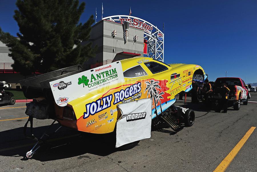 Oct. 30, 2011; Las Vegas, NV, USA: NHRA funny car driver Todd Lesenko during the Big O Tires Nationals at The Strip at Las Vegas Motor Speedway. Mandatory Credit: Mark J. Rebilas-
