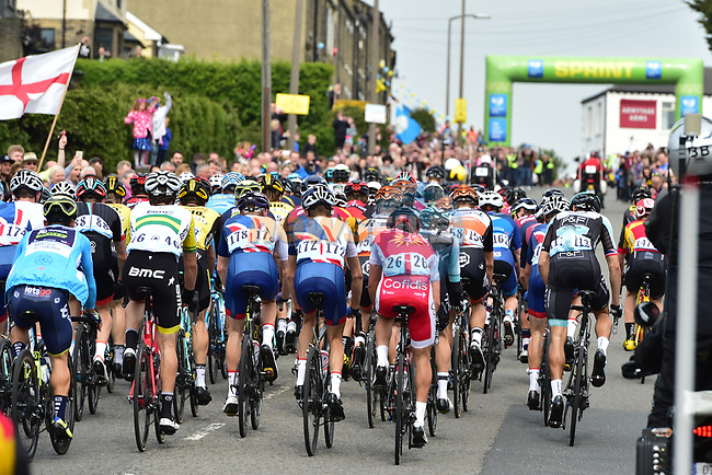 The peloton pass the intermediate sprint at Clifton during Stage 3 of the Tour de Yorkshire 2017 running 194.5km from Bradford/Fox Valley to Sheffield, England. 30th April 2017. <br /> Picture: ASO/P.Ballet   Cyclefile<br /> <br /> <br /> All photos usage must carry mandatory copyright credit (&copy; Cyclefile   ASO/P.Ballet)