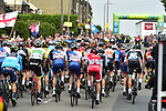 The peloton pass the intermediate sprint at Clifton during Stage 3 of the Tour de Yorkshire 2017 running 194.5km from Bradford/Fox Valley to Sheffield, England. 30th April 2017. <br /> Picture: ASO/P.Ballet | Cyclefile<br /> <br /> <br /> All photos usage must carry mandatory copyright credit (&copy; Cyclefile | ASO/P.Ballet)
