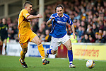 Motherwell v St Johnstone...28.01.12  .Lee Croft tracked by Shaun Hutchinson.Picture by Graeme Hart..Copyright Perthshire Picture Agency.Tel: 01738 623350  Mobile: 07990 594431