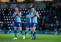 Luke O'Nien of Wycombe Wanderers applauds the support after the Sky Bet League 2 match between Wycombe Wanderers and Yeovil Town at Adams Park, High Wycombe, England on 14 January 2017. Photo by Andy Rowland / PRiME Media Images.