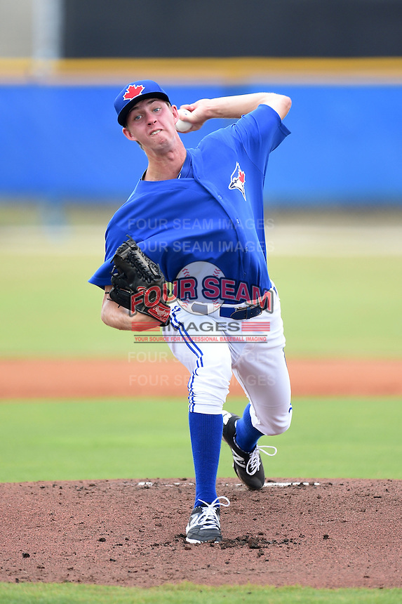 GCL Blue Jays starting pitcher Nick Wells (38) delivers a pitch during a game against the GCL Yankees 2 on July 2, 2014 at the Bobby Mattick Complex in Dunedin, Florida.  GCL Yankees 2 defeated GCL Blue Jays 9-6.  (Mike Janes/Four Seam Images)