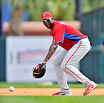 9 March 2012: Philadelphia Phillies infielder John Mayberry Jr. warms up prior to a Spring Training game against the Detroit Tigers at Joker Marchant Stadium in Lakeland, Florida. The Phillies defeated the Tigers 7-5 in Grapefruit League action. Mandatory Credit: Ed Wolfstein Photo