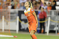 Houston, TX - Saturday July 08, 2017: Rachel Daly reacts to missing a shot on the Portland goal during a regular season National Women's Soccer League (NWSL) match between the Houston Dash and the Portland Thorns FC at BBVA Compass Stadium.