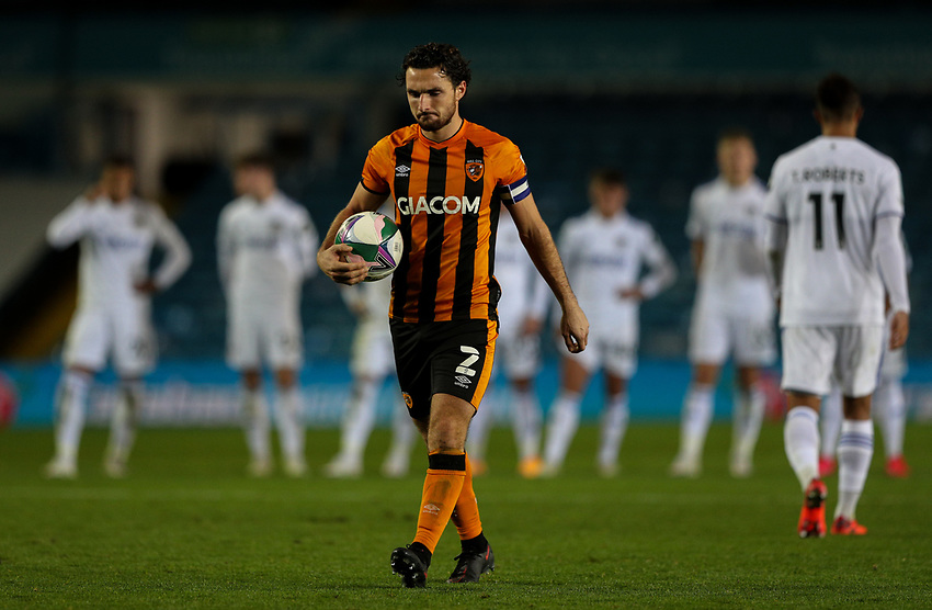 Hull City's Lewie Coyle walks up to take a penalty<br /> <br /> Photographer Alex Dodd/CameraSport<br /> <br /> Carabao Cup Second Round Northern Section - Leeds United v Hull City -  Wednesday 16th September 2020 - Elland Road - Leeds<br />  <br /> World Copyright © 2020 CameraSport. All rights reserved. 43 Linden Ave. Countesthorpe. Leicester. England. LE8 5PG - Tel: +44 (0) 116 277 4147 - admin@camerasport.com - www.camerasport.com