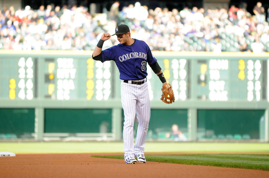 16 APRIL 2011: Colorado Rockies shortstop Troy Tulowitzki (2)  during a regular season game between the Chicago Cubs and the Colorado Rockies at Coors Field in Denver, Colorado. The Bubs beat the Rockies 8-3.   *****For Editorial Use Only*****
