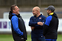 Bath Rugby first team coaches Toby Booth and Darren Edwards and Edinburgh Rugby Head Coach Richard Cockerill. Pre-season friendly match, between Edinburgh Rugby and Bath Rugby on August 17, 2018 at Meggetland Sports Complex in Edinburgh, Scotland. Photo by: Patrick Khachfe / Onside Images