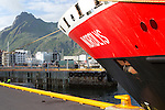 Nordlys Hurtigruten ferry ship at Svolvaer, Lofoten Islands, Nordland, Norway