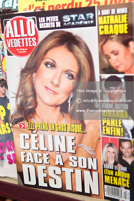 A copy of Allo Vedettes magazine is seen on display in a convenient store in Quebec City February 26, 2009