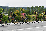 The peleton including race leader Maglia Rosa Simon Yates (GBR) Mitchelton-Scott on the front during Stage 18 of the 2018 Giro d'Italia, running 196km from Abbiategrasso to Prato Nevoso, Italy. 24th May 2018.<br /> Picture: LaPresse/Fabio Ferrari | Cyclefile<br /> <br /> <br /> All photos usage must carry mandatory copyright credit (&copy; Cyclefile | LaPresse/Fabio Ferrari)