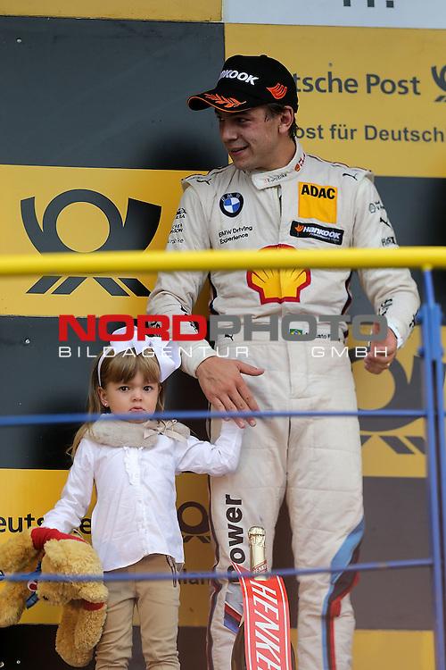DTM 2015, 07.Lauf Oschersleben, 11.09. - 13.09.15 <br /> Podium:<br /> 2.Platz f&uuml;r Augusto Farfus (BRA#18) BMW Team RBM BMW M4 DTM der seine Tochter mit auf das Podest brachte<br /> <br /> <br /> <br /> <br /> <br /> <br /> Foto &copy; nordphoto /  Bratic