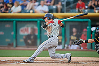 Luis Urias (3) of the El Paso Chihuahuas bats against the Salt Lake Bees at Smith's Ballpark on August 14, 2018 in Salt Lake City, Utah. El Paso defeated Salt Lake 6-3. (Stephen Smith/Four Seam Images)