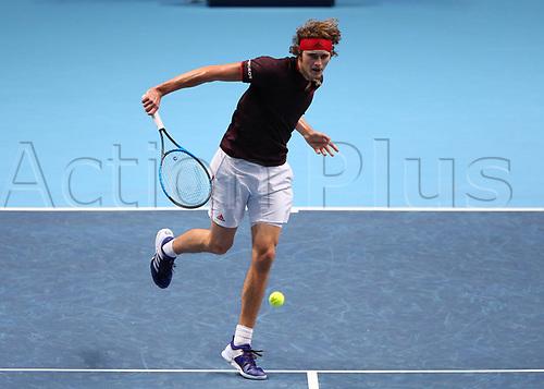 14th November 2017, O2 Arena, London, England; Nitto ATP Tennis Finals; Alexander Zverev Jr (GER) return forehand to Roger Federer (SWZ)