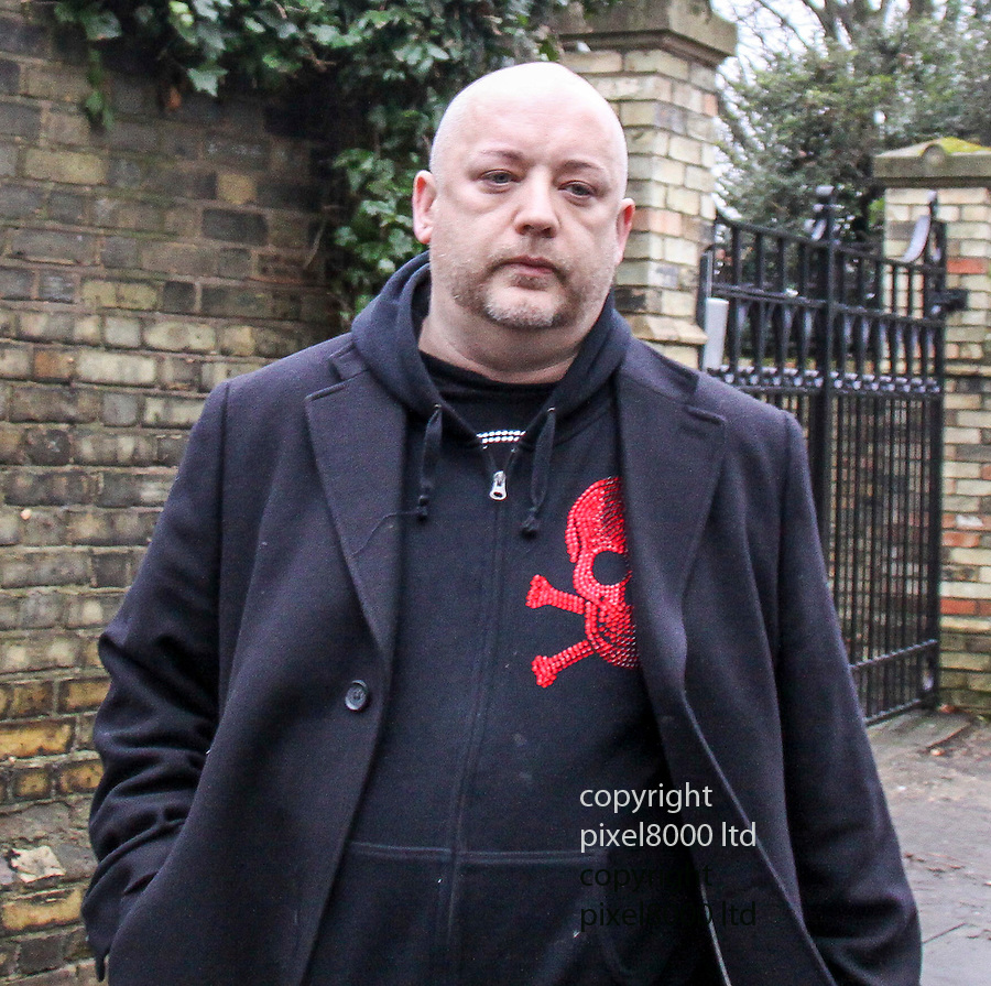 pic shows: Boy George on his way for sentence to jail in January 2009. He left his home in Hampstead on his way to Snaresbrook Crown Court wearing a skull hoodie.<br /> <br /> <br /> <br /> picture by Gavin Rodgers/ Pixel