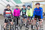 Siobhan Clear (Chain Gang), Marie O'Connell (Tralee) and John O'Connor (Tralee), Carmel Kelly (Tralee) and David Barton (Ardfert) attending the cycle in the Ardfert NS on Sunday morning.