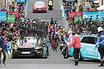 Chaos ensues as the 4th group arrives and cars were blocking the road, problem with the small roads and small towns, almost resulting in an accident at the finish line of Stage 2 of the Criterium du Dauphine 2019, running 180km from Mauriac to Craponne-sur-Arzon, France. 9th June 2019<br /> Picture: Colin Flockton | Cyclefile<br /> All photos usage must carry mandatory copyright credit (© Cyclefile | Colin Flockton)