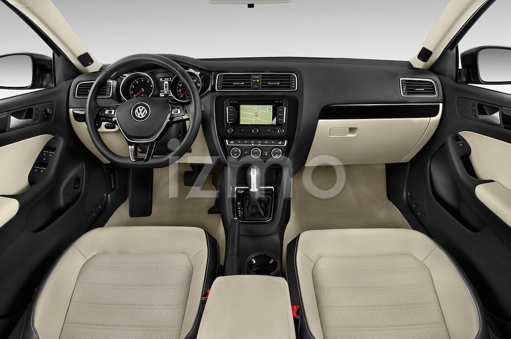 Stock photo of straight dashboard view of a 2015 Volkswagen Jetta 2.5L SEL 4 Door Sedan Dashboard