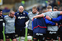 Matt Garvey and Dave Attwood of Bath Rugby look on in a pre-match huddle. Aviva Premiership match, between Bath Rugby and Saracens on December 3, 2016 at the Recreation Ground in Bath, England. Photo by: Patrick Khachfe / Onside Images