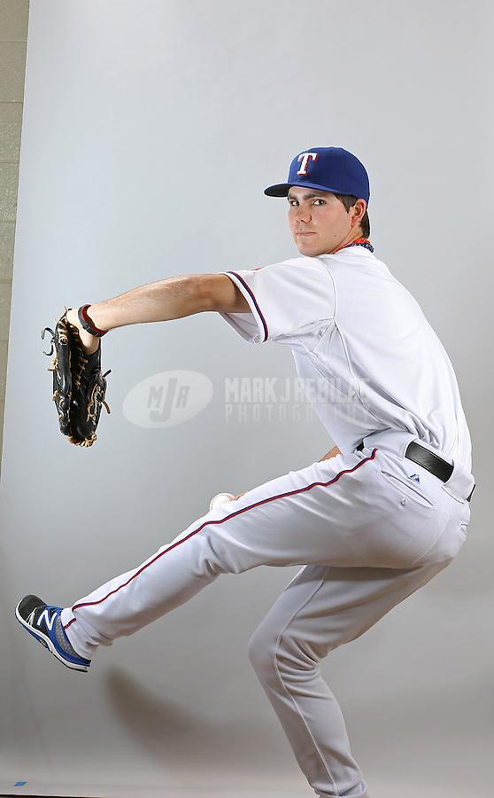 Feb. 20, 2013; Surprise, AZ, USA: Texas Rangers pitcher Cody Buckel poses for a portrait during photo day at Surprise Stadium. Mandatory Credit: Mark J. Rebilas-