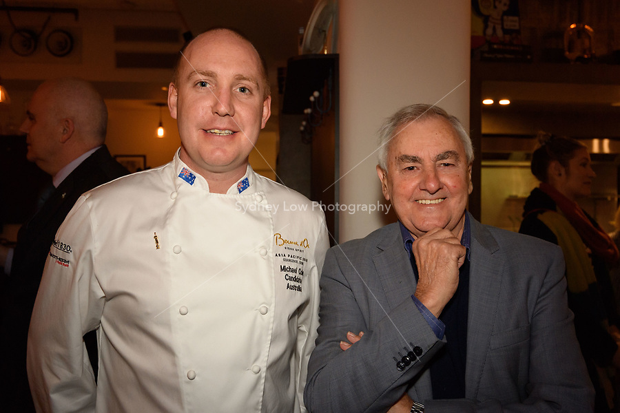 Melbourne, June 26, 2018 - Michael Cole and Ted Bones from Clover Valley Fine Foods pose for a photograph at a celebration event for Bocuse d'Or Australia team and their sponsors and supporters at Philippe Restaurant in Melbourne, Australia. Photo Sydney Low.