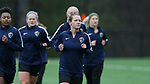 RALEIGH, NC - MARCH 13: Meredith Speck leads teammates as they run laps. The North Carolina Courage held their first ever training session on March 13, 2017, at WRAL Soccer Center in Raleigh, NC to start their preseason before the 2017 NWSL Season. Prior to its offseason relocation the team was known as the Western New York Flash.