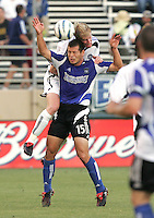 29 June 2005:  Nat Borchers of Rapids battles for the ball in the air with Alejandro Moreno of Earthquakes during the first half of the game at Spartan Stadium in San Jose, California.   Earthquakes tied Rapids at 0-0 at halftime.   Mandatory Credit: Michael Pimentel / ISI