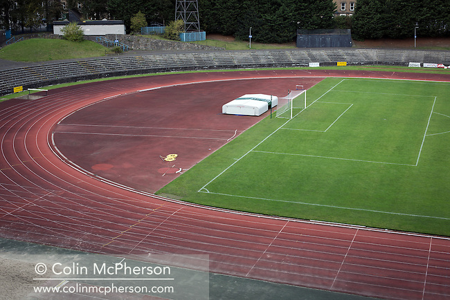 An interior view ground from the grandstand at Meadowbank Stadium in Edinburgh, before Edinburgh City played host to Spartans in a Lowland League fixture. The host won the match 1-0 with a late goal by Ousman See, despite playing for the last 30 minutes with 10 men after Ross Allum was sent off. The wind kept the reigning champions side clear at the top of the league.