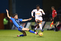 Gillingham's Luke O'Neil and Blackpool's Marc Bola<br /> <br /> Photographer Rachel Holborn/CameraSport<br /> <br /> The EFL Sky Bet League One - Gillingham v Blackpool - Tuesday 6th November 2018 - Priestfield Stadium - Gillingham<br /> <br /> World Copyright &copy; 2018 CameraSport. All rights reserved. 43 Linden Ave. Countesthorpe. Leicester. England. LE8 5PG - Tel: +44 (0) 116 277 4147 - admin@camerasport.com - www.camerasport.com