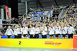 Leipzig, Germany, February 08: Team Germany receives their silver medals during prize giving ceremony at the FIH Indoor Hockey Women World Cup on February 8, 2015 at the Arena Leipzig in Leipzig, Germany. (Photo by Dirk Markgraf / www.265-images.com) *** Local caption ***