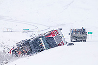 Semi tractor trailer accident, James Dalton Highway, base of Atigun pass, Brooks Range, Arctic, Alaska