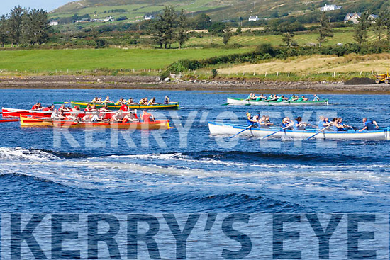 Action from the start of the Ladies Charity Seine Boat Race in Cahersiveen on Saturday.
