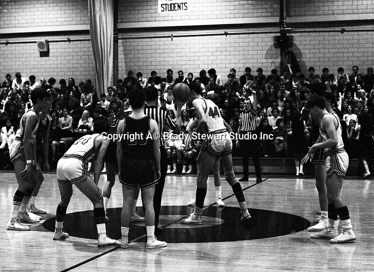 Bethel Park PA:  A jump ball at the beginning of the basketball game against the Mt Lebanon Blue Devils at Bethel Park Gymnasium  - 1968. Others in the photo;  John Klein 44, Mike Stewart, Bruce Evanovich, Steve Zemba. The JV Team was coached by Mr. Reno and the Bethel Park JVs won the Section Championship.  The team included; Scott Streiner, Steve Zemba, John Klein, Mike Stewart, Bruce Evanovich, Jeff Blosel and Tim Sullivan.