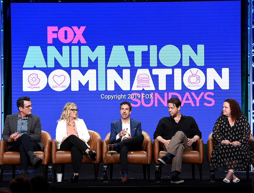 2019 FOX SUMMER TCA: (L-R): DUNCANVILLE Cast member Ty Burrell, and cast member/Co-Creator/Writer/Executive Producer Amy Poehler; FOX Entertainment, President Entertainment Michael Thorn; BLESS THE HARTS cast member Ike Barinholtz, and Creator/Executive Producer Emily Spivey during the ANIMATION DOMINATION: BLESS THE HARTS/DUNCANVILLE panel at the 2019 FOX SUMMER TCA at the Beverly Hilton Hotel, Wednesday, Aug. 7 in Beverly Hills, CA. CR: Frank Micelotta/FOX/PictureGroup