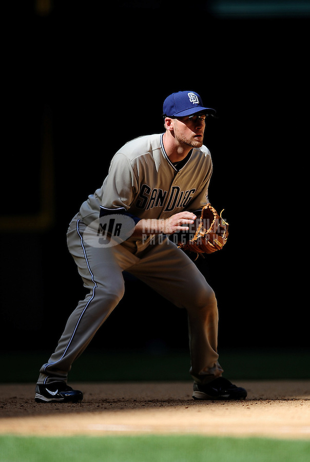 Apr. 5, 2010; Phoenix, AZ, USA; San Diego Padres third baseman Chase Headley against the Arizona Diamondbacks during opening day at Chase Field. Mandatory Credit: Mark J. Rebilas-