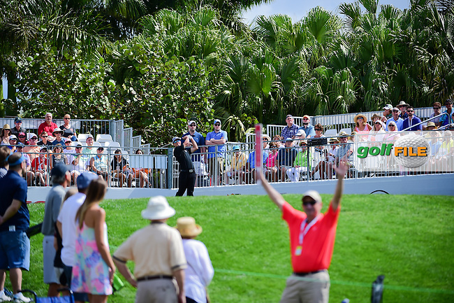 Blayne Barber (USA) watches his tee shot on 1 during round 3 of the Honda Classic, PGA National, Palm Beach Gardens, West Palm Beach, Florida, USA. 2/25/2017.<br /> Picture: Golffile | Ken Murray<br /> <br /> <br /> All photo usage must carry mandatory copyright credit (&copy; Golffile | Ken Murray)
