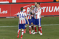 Atletico de Madrid's Gabi Fernandez, Antoine Griezmann, Mario Suarez and Mario Mandzukic celebrate during La Liga match.January 24,2015. (ALTERPHOTOS/Acero) /NortePhoto<br /> NortePhoto.com