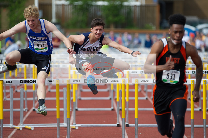 Eagle River's Mason Wadsworth enrout to his fourth-place finish in the 110-metter hurdles at the Alaska State Track and Field championships Saturday, May 28, 2016.