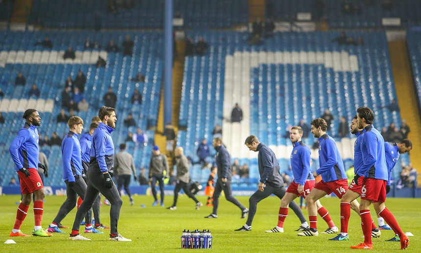 Blackburn Rovers players warm up before the match<br /> <br /> Photographer Alex Dodd/CameraSport<br /> <br /> The EFL Sky Bet Championship - Sheffield Wednesday v Blackburn Rovers - Tuesday 14th February 2017 - Hillsborough - Sheffield<br /> <br /> World Copyright &copy; 2017 CameraSport. All rights reserved. 43 Linden Ave. Countesthorpe. Leicester. England. LE8 5PG - Tel: +44 (0) 116 277 4147 - admin@camerasport.com - www.camerasport.com