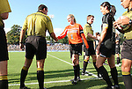 27 September 2009: Referee Tony Crush shakes hands with Wake Forest captain Laura Morse (1). The University of North Carolina Tar Heels defeated the Wake Forest University Demon Deacons 4-0 at Fetzer Field in Chapel Hill, North Carolina in an NCAA Division I Women's college soccer game.
