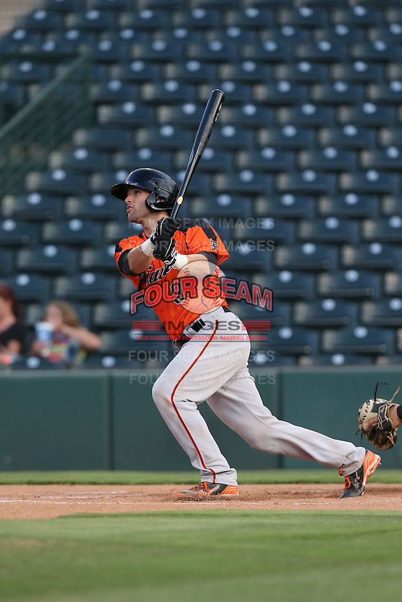 Matt Winn (9) of the AZL Giants bats during a game against the AZL Angels at Tempe Diablo Stadium on July 6, 2015 in Tempe, Arizona. Angels defeated the Giants, 3-1. (Larry Goren/Four Seam Images)