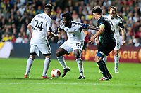 Thursday  03 October  2013  Pictured: ( L-R )  Alejandro Pozuelo Wilfried Bony Stephane Besle of St.Gallen and Michu of Swansea<br /> Re:UEFA Europa League, Swansea City FC vs FC St.Gallen,  at the Liberty Staduim Swansea