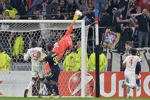 2nd November 2017, Nice, France; EUFA Europa League, Olympique Lyonnais versus Everton;  Anthony Lopes (lyon) makes a fingertip save from Jonjoe Kenny (everton)