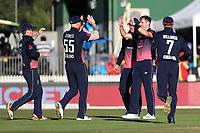 England celebrate the wicket of New Zealand's Martin Guptill. New Zealand Blackcaps v England. One Day International Cricket. Seddon Park, Hamilton, New Zealand on Sunday 25 February 2018.<br /> <br /> Copyright photo: &copy; Bruce Lim / www.photosport.nz