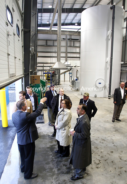 SOUTHINGTON CT. 15 November 2016-111516SV08-Guests are given a tour of Quantum Power's anaerobic digester, which opened with a ribbon cutting, in Southington Tuesday.<br /> Steven Valenti Republican-American